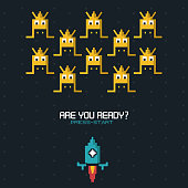 colorful poster of are you ready press start with graphics of spatial game with blue rocket
