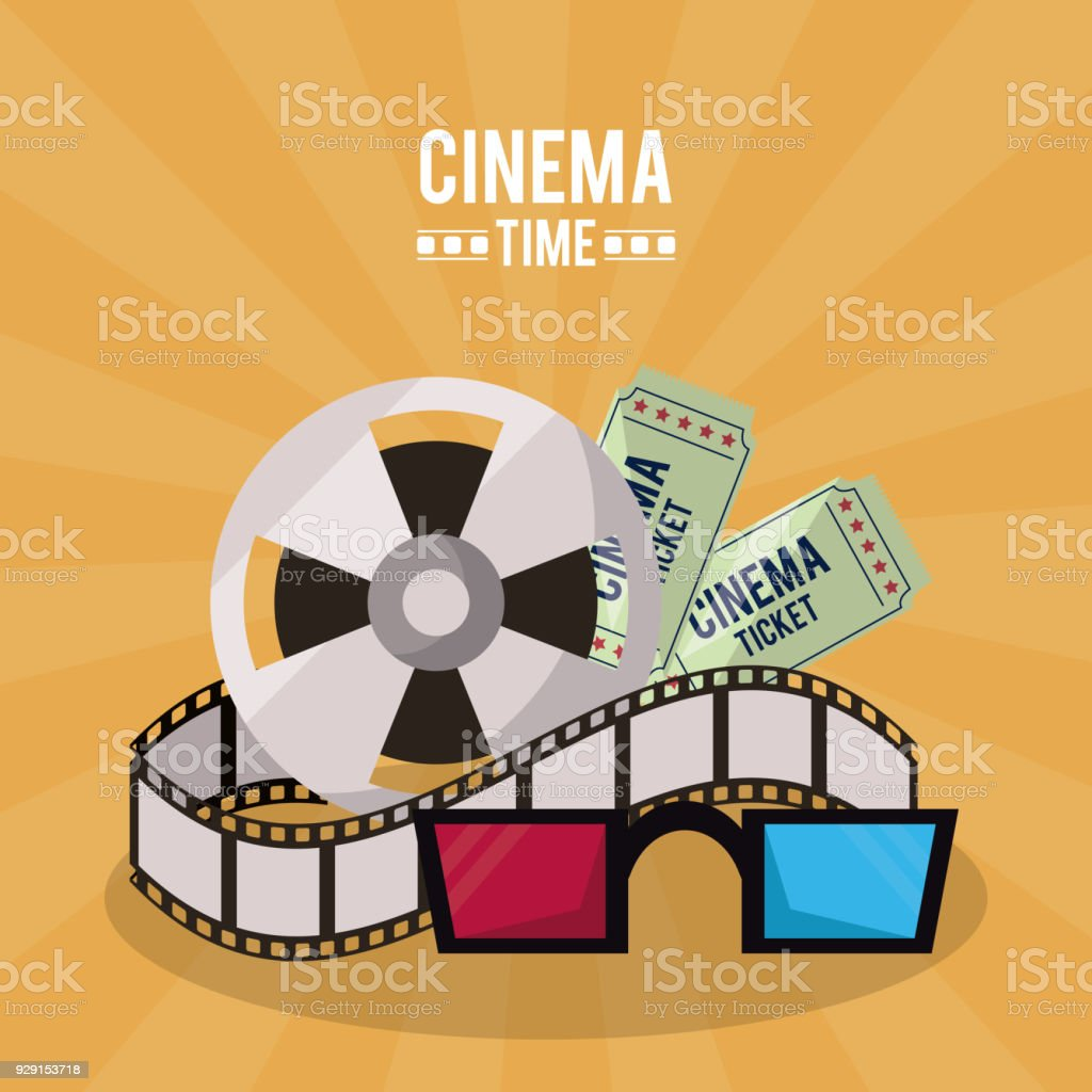 Colorful Poster Of Cinema Time With Film Reel And Tickets And 3d ...