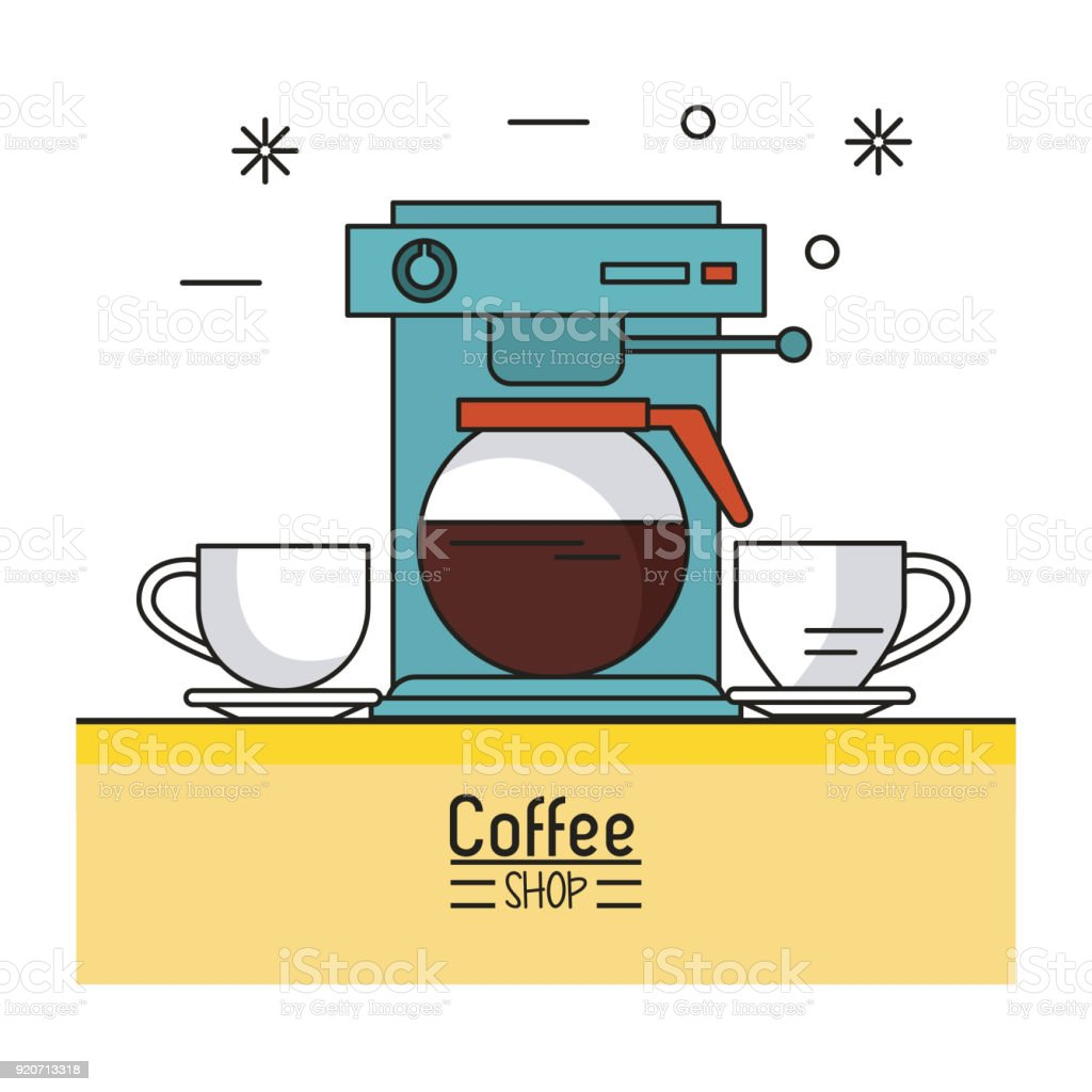 Colorful Poster Of Coffee Shop With Coffee Maker And Two Porcelain
