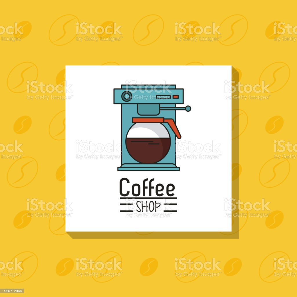 Colorful Poster Of Coffee Shop With Coffee Maker In Frame And Yellow