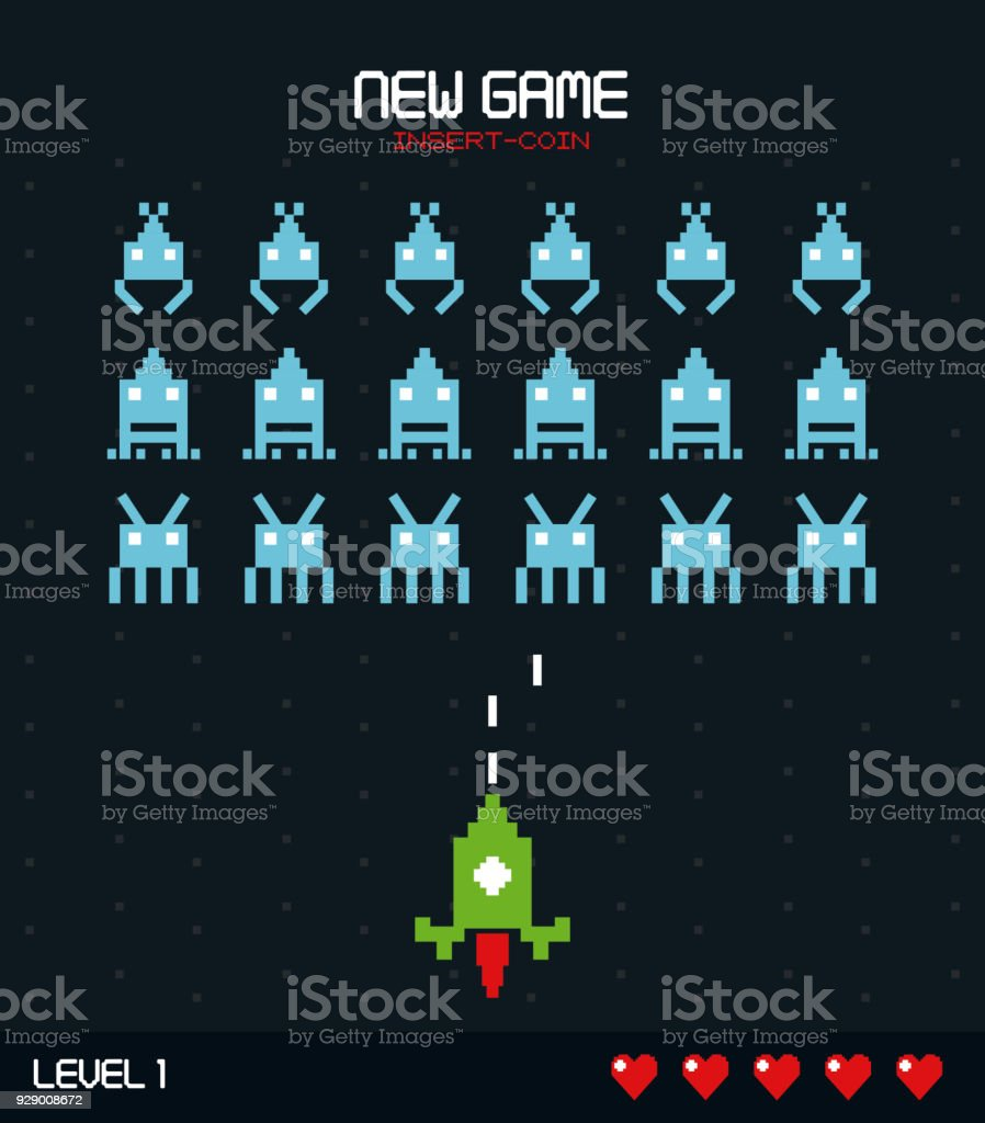 colorful poster of new game insert coin with graphics of spatial game level one vector art illustration