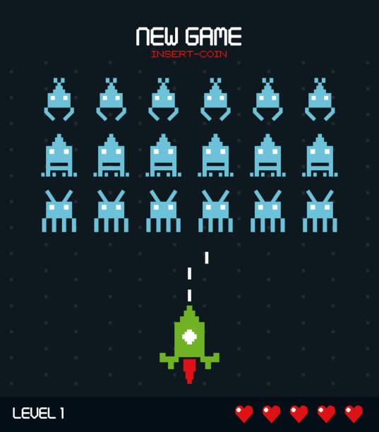 yeni oyun renkli poster madeni para ile kayma oyun level biri grafik ekle - gaming stock illustrations