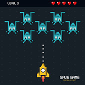 colorful poster of save game press start with graphics of spatial game in level three