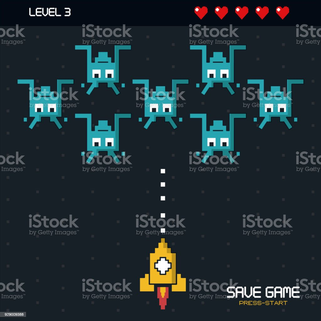 affiche colorée d'enregistrer jeu appuyez sur start avec des graphismes du jeu spatiale au niveau trois - Illustration vectorielle