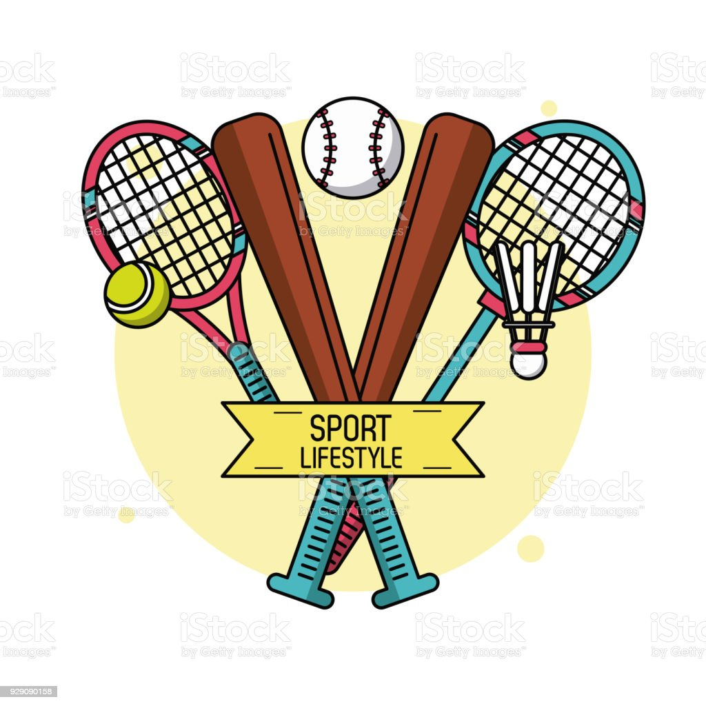 colorful poster of sport lifestyle with baseball bats and rackets of rh istockphoto com Cute Tennis Clip Art Female Tennis Clip Art