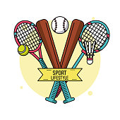 colorful poster of sport lifestyle with baseball bats and rackets of tennis and badminton
