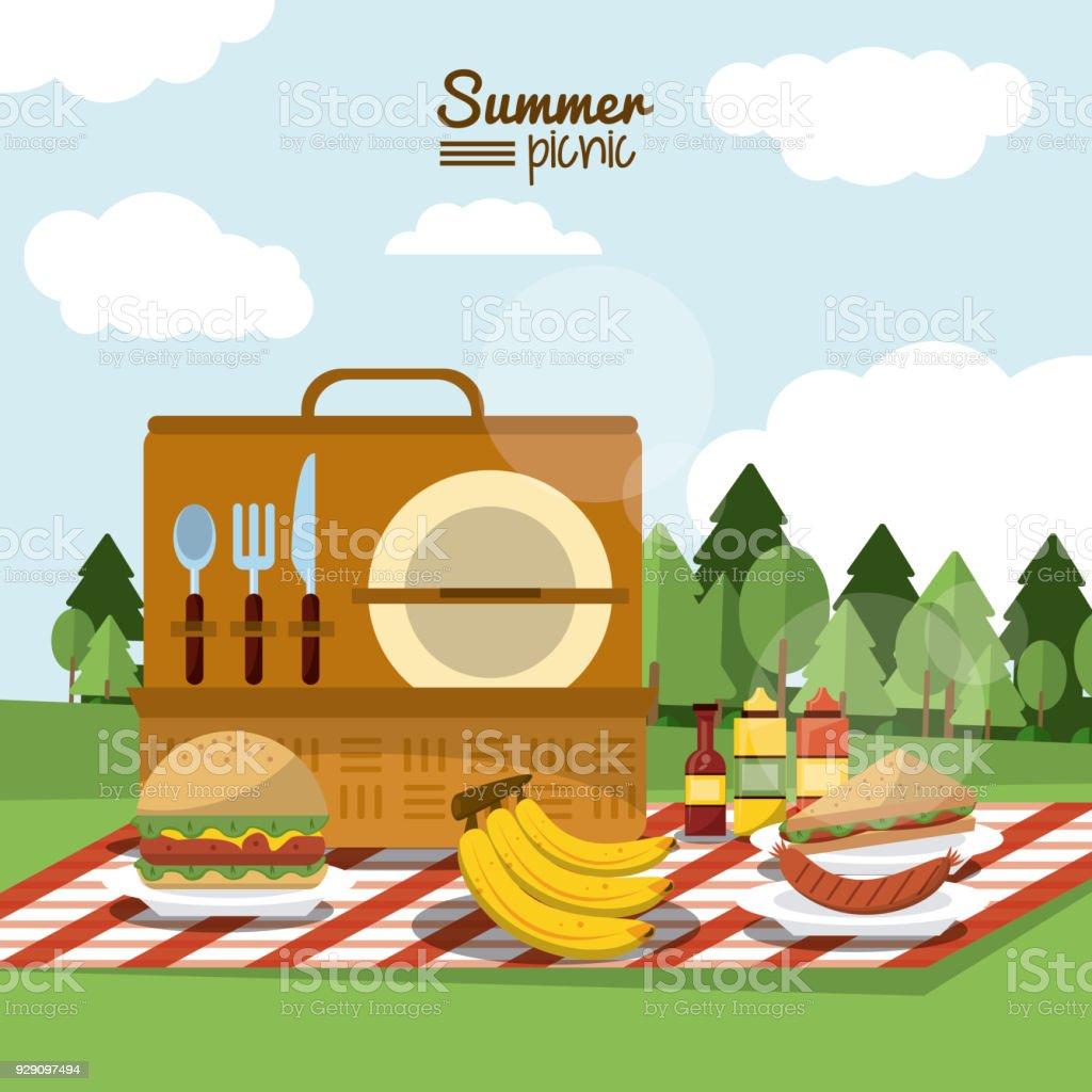 食事とテーブル クロスに屋外の風景とピクニック バスケットの夏の