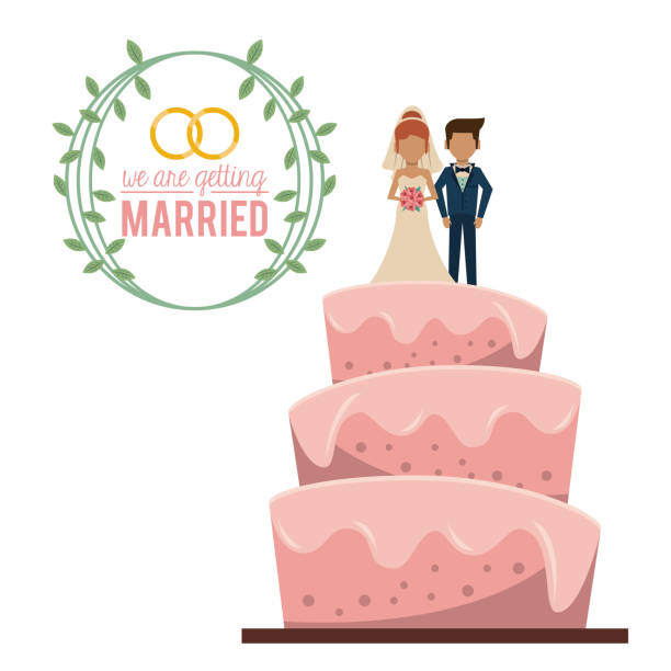 colorful poster of we are getting married with wedding cake with couple married on top colorful poster of we are getting married with wedding cake with couple married on top vector illustration wedding cake stock illustrations