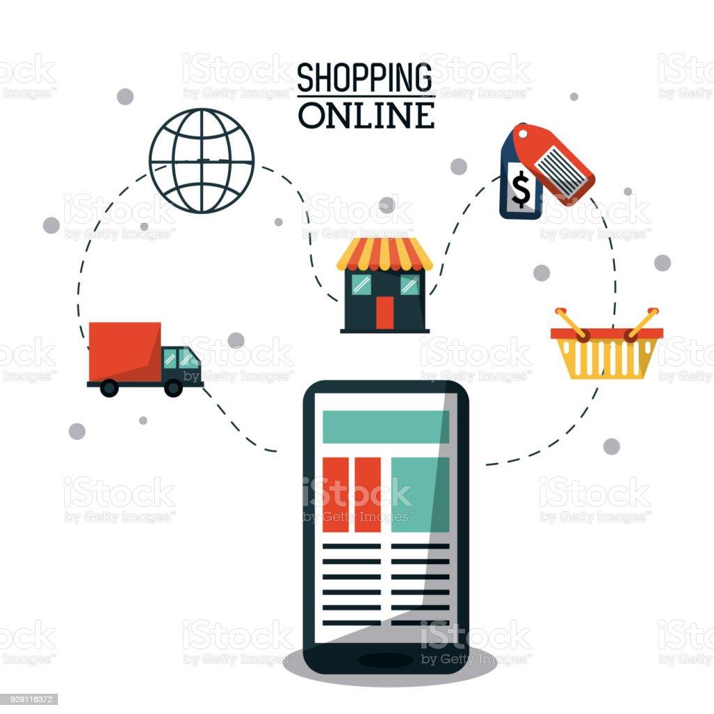 6a530dc31 pôster colorido compras on-line com o smartphone e o processo de compra on-