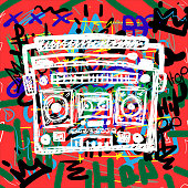 Colorful poster with sketch of cassette recorder on background with text Hip Hop, crowns and abstract elements. Drawn by hand. Vector illustration.