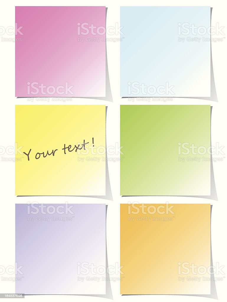 Colorful post-it set royalty-free stock vector art