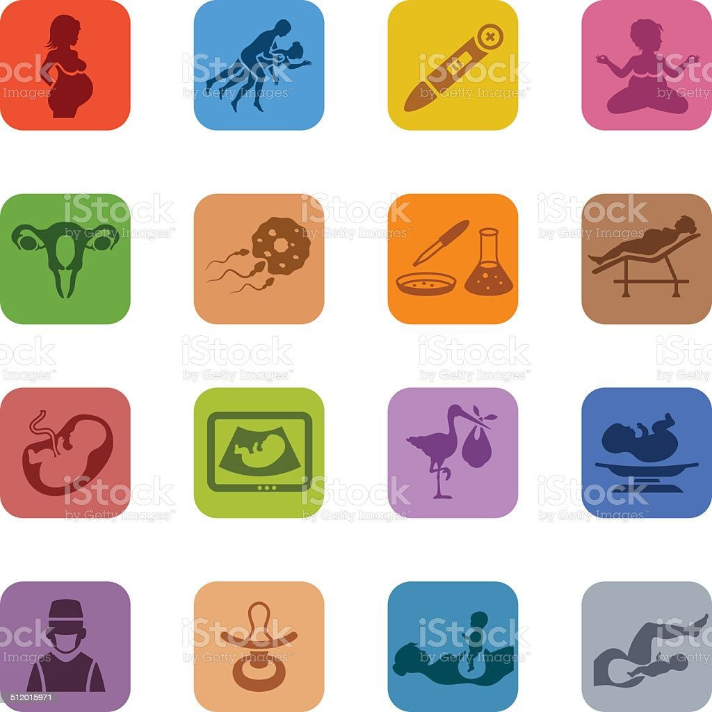 Colorful Pregnancy Icon Set vector art illustration