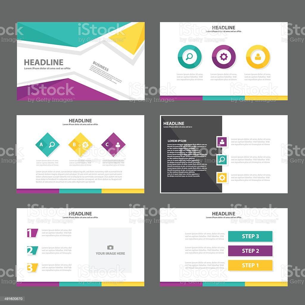 colorful presentation template infographic elements flat design, Presentation templates