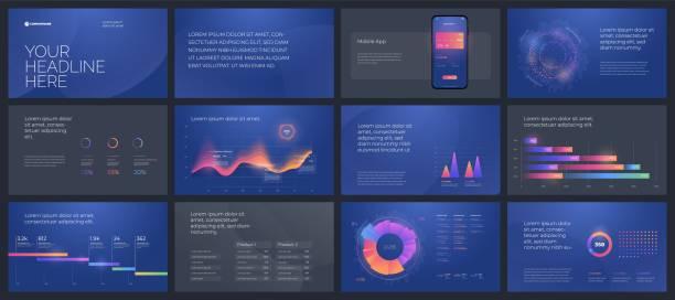 ilustrações, clipart, desenhos animados e ícones de elementos coloridos dos moldes da apresentação. infographics do vetor. o eps 10. - deslize