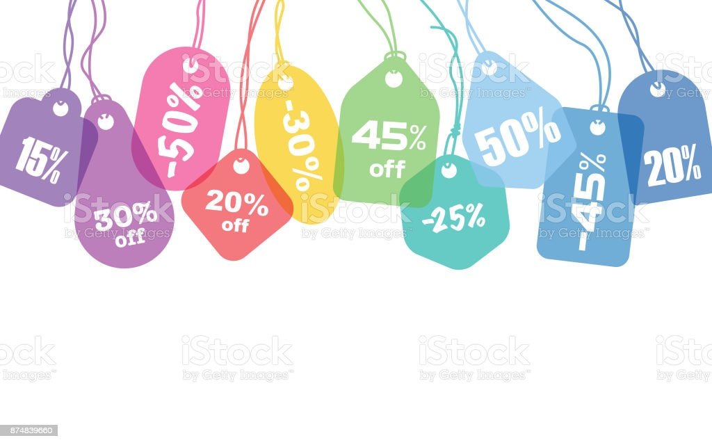 Colorful price tags vector art illustration