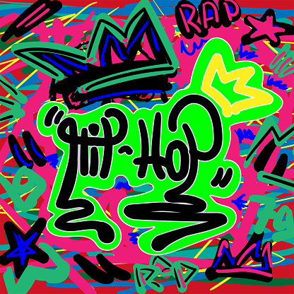 Colorful print in style of graffiti with a text Hip hop. Music vector illustration drawn by hand.