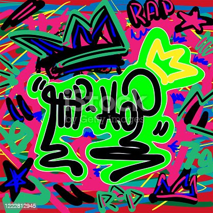 istock Colorful print in style of graffiti with a text Hip hop. Music vector illustration drawn by hand. 1222812945