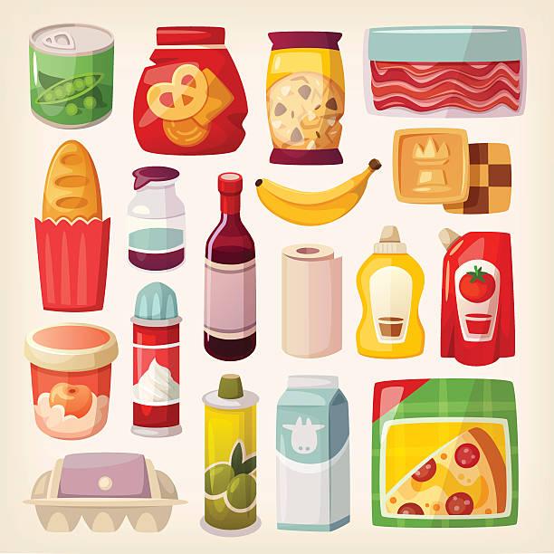 illustrazioni stock, clip art, cartoni animati e icone di tendenza di colorato icone di prodotti - gelato confezionato