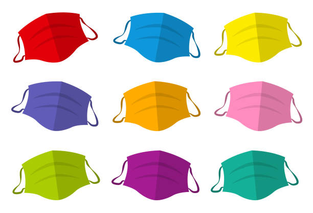 Colorful protective masks, colored medical face mask collection. Isolated vector illustration on white background. vector art illustration