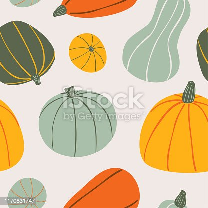 Food hand drawn vector seamless pattern. Stylized colorful pumpkins on light background. Cartoon Vegetables for wrapping paper, textile, background design for kitchen