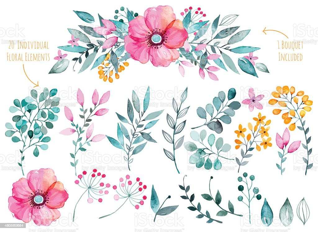 Colorful purple floral collection with leaves and flowers,drawing watercolor. vector art illustration