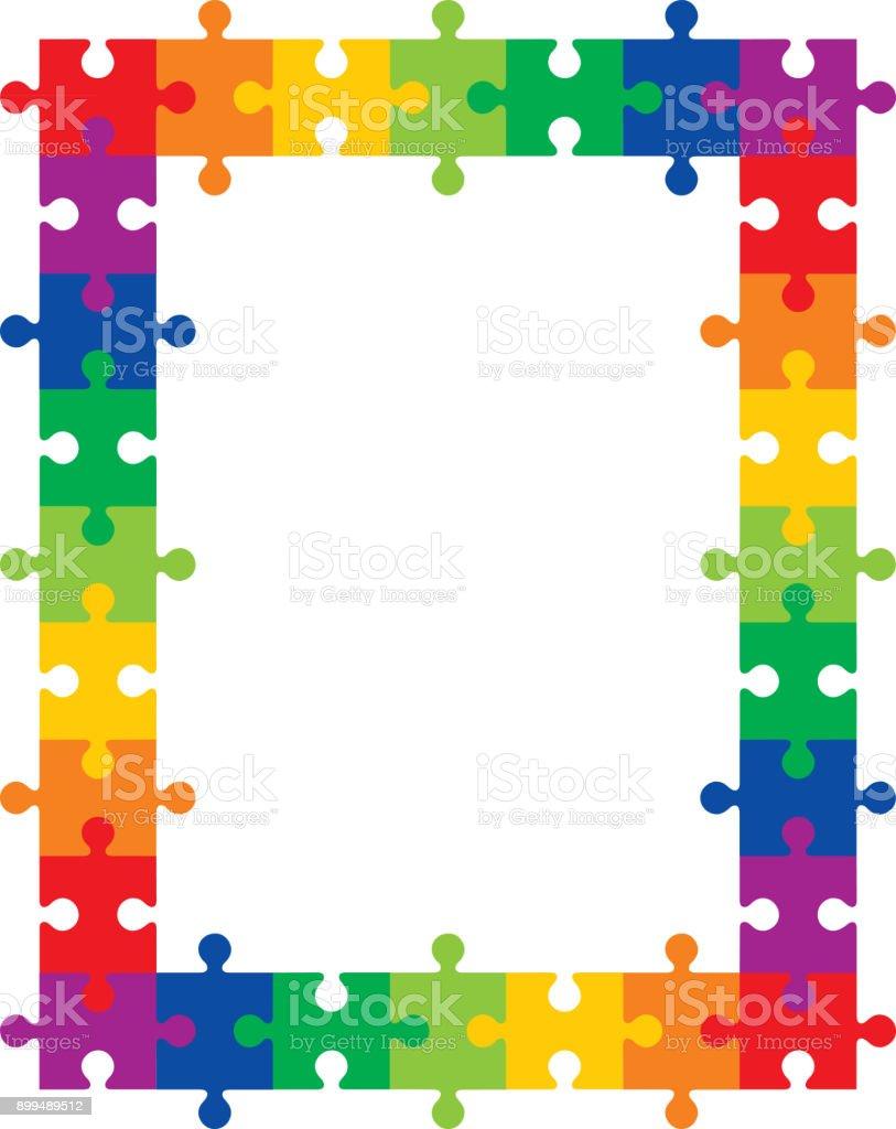 Ilustración de Colorido Rompecabezas De Marco y más banco de ...
