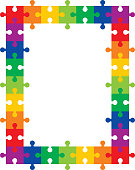 Vector illustration of a colorful frame made up of interlocking puzzle pieces.