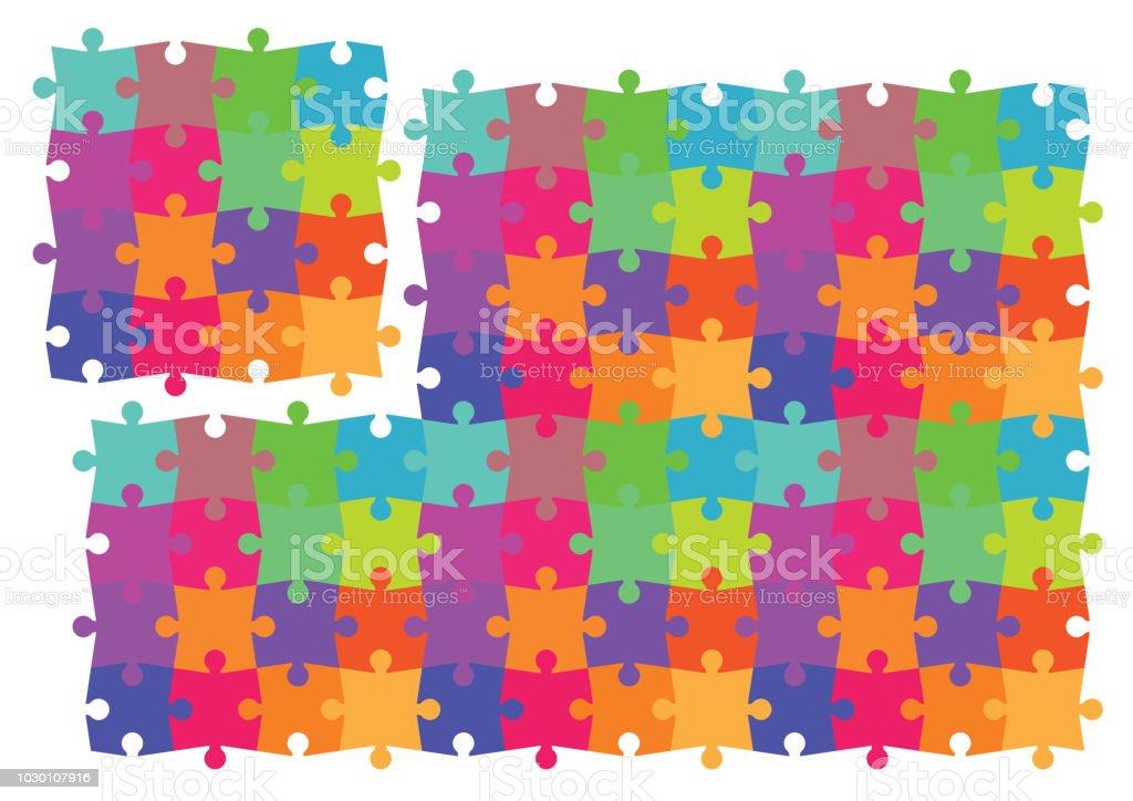 Buntes Puzzle Pattern_Vector EPS 10 – Vektorgrafik
