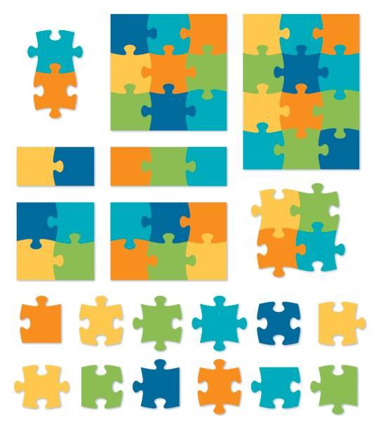 bunte puzzle - puzzle stock-grafiken, -clipart, -cartoons und -symbole