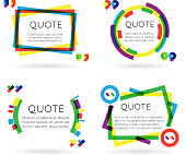 Colorful quote template information text blog business mobile isolated white background vector illustration
