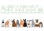 colorful rabbits in a row.