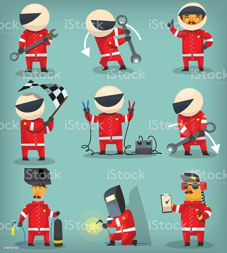 Colorful race workers vector art illustration
