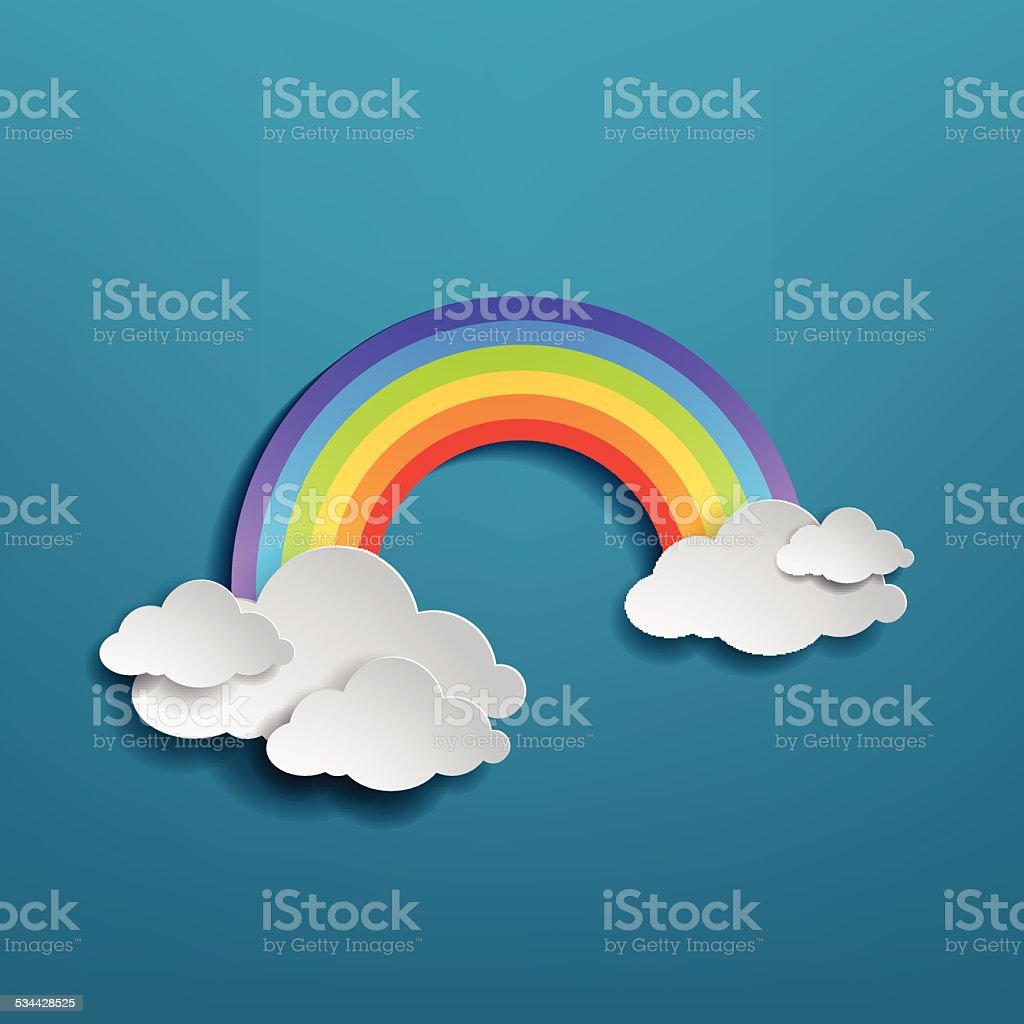 Colorful rainbow arch with clouds vector art illustration