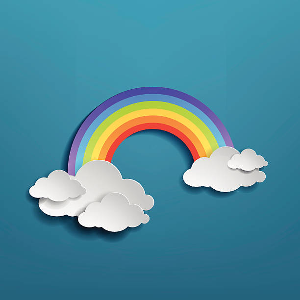 Colorful rainbow arch with clouds Colorful rainbow arch with clouds on blue background. rainbow stock illustrations