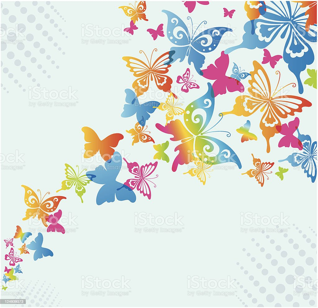 Colorful Rainbow Butterfly Background On Light Blue Stock Vector Art