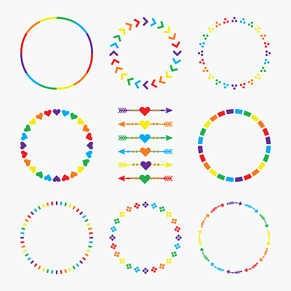 Colorful rainbow circle emblems pattern with arrows design element set on white background