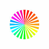 Colorful rainbow color abstract sunburst circle pattern on white background.