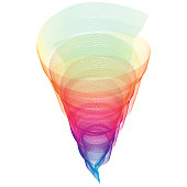 Colorful rainbow funnel and lines pattern background as homosexual concept. Vector illustration.
