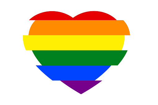 Colorful rainbow heart, isolated on white (transparent) background. Concepts of love, wedding, valentines, support LGBT / LGBTQ.
