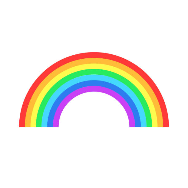 colorful rainbow or color spectrum flat icon for apps and websites - tęcza stock illustrations