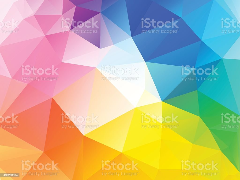 Colorful rainbow polygon background vector art illustration