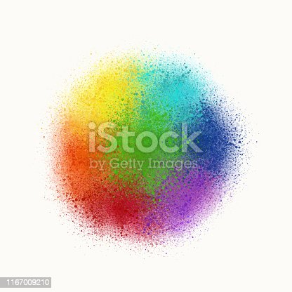 istock Colorful Rainbow Watercolor Splashes Background. Abstract Rainbow Circle Design Element. 1167009210