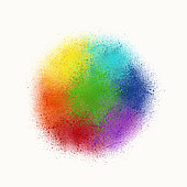 Colorful Rainbow Watercolor Splashes Background. Abstract Rainbow Circle Design Element.