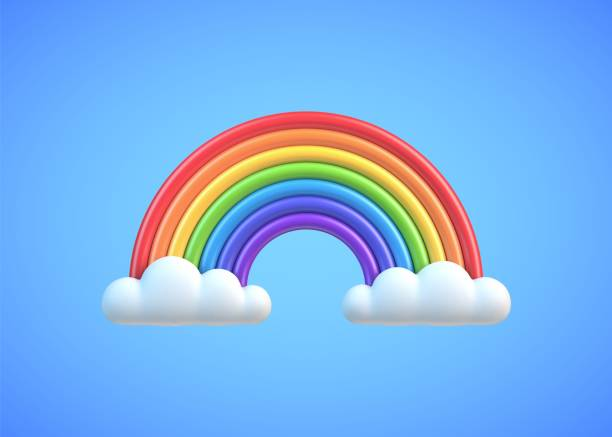 Colorful rainbow with clouds Colorful rainbow with clouds on blue sky background. Plasticine or clay design element rainbow stock illustrations