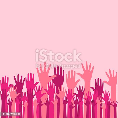 Colorful Raise Up Hands Background for health awareness support hope charity with elegant look