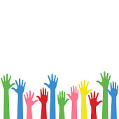 Colorful Raise Up Hands Background