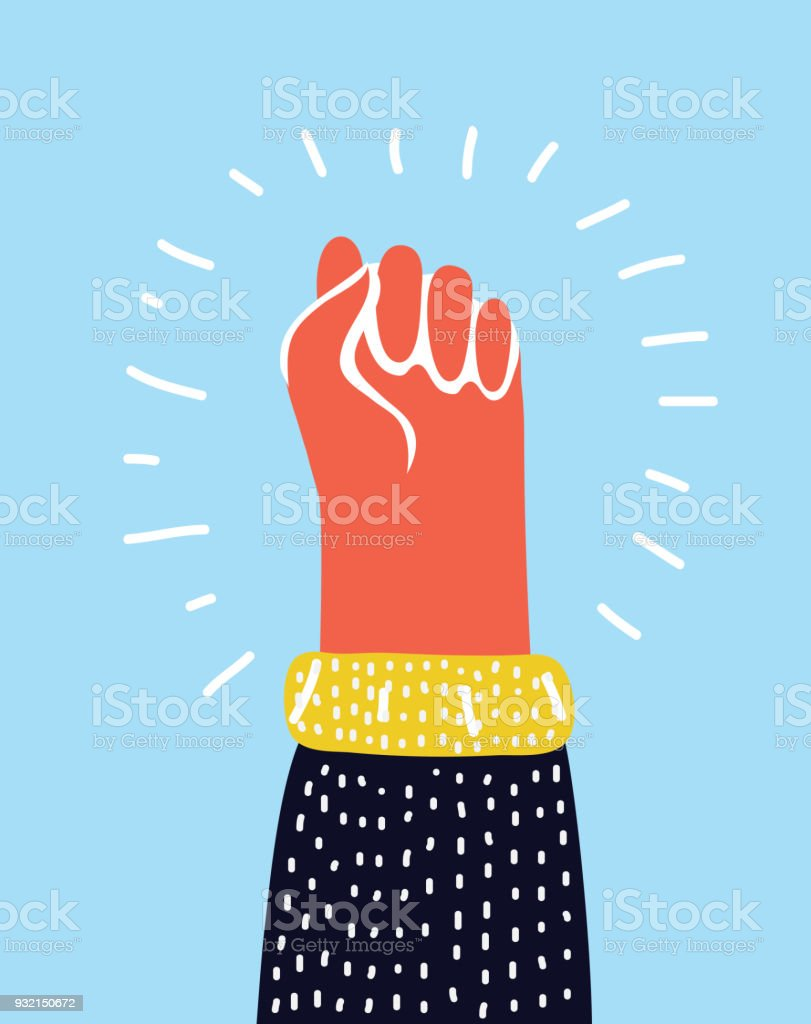 Colorful raised up clenched male fist. Symbol of demonstration, revolution, protest, resistance and freedom. vector art illustration