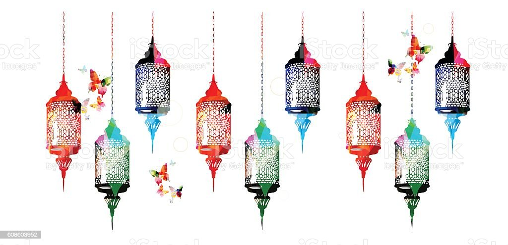 Colorful Ramadan Kareem lamps with butterflies vector illustration vector art illustration