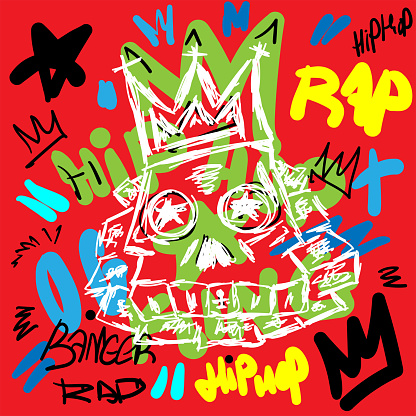 Colorful rap print with skull and text drawn by hand. Sketch, doodle, scribble. Vector illustration.