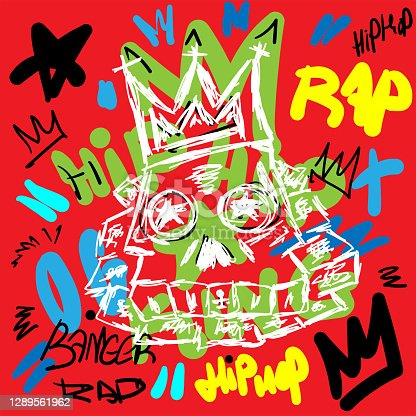 istock Colorful rap print with skull and text drawn by hand. Sketch, doodle, scribble. Vector illustration. 1289561962